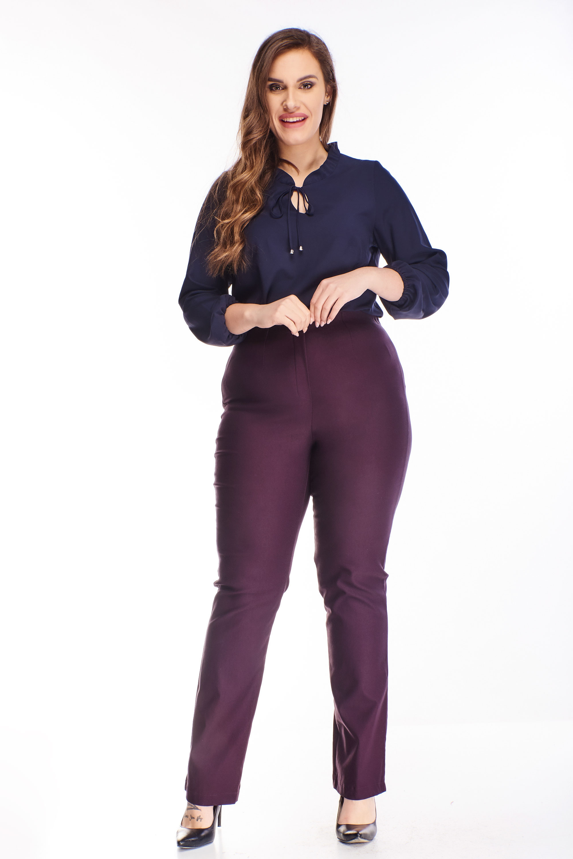 Fialové nohavice s vysokým pásom - 46
