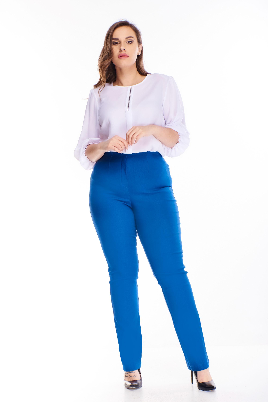 Modré nohavice s vysokým pásom - 46