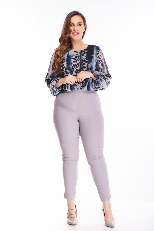 Sivé nohavice s vysokým pásom - 46