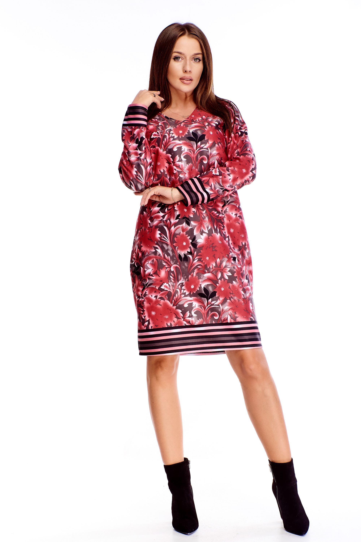 Krátke bavlnené šaty s kvetinami červené - M