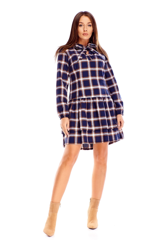 Bavlnené kárované šaty námornícke modré - 40