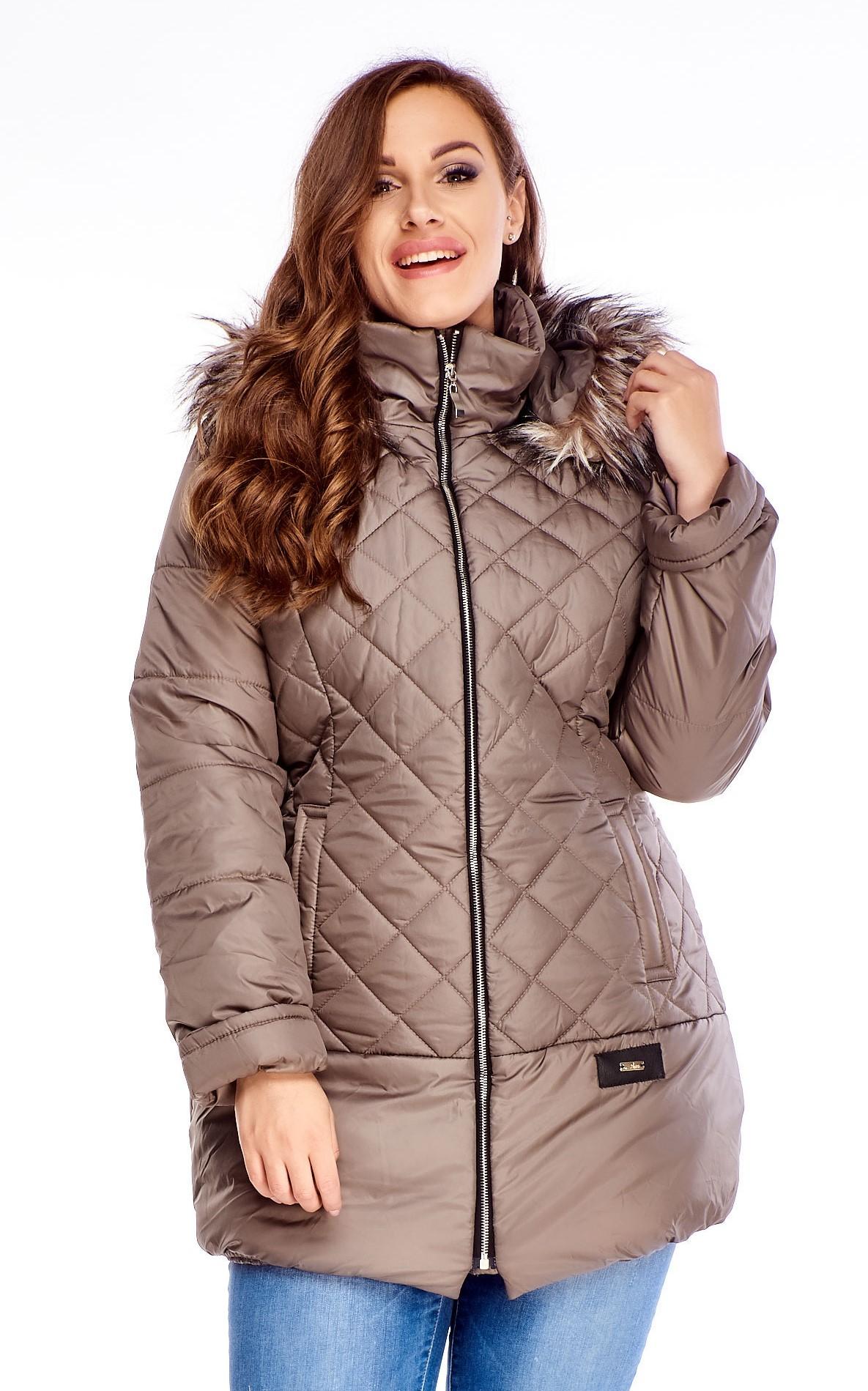Béžová zimná bunda s kožušinkou - 38