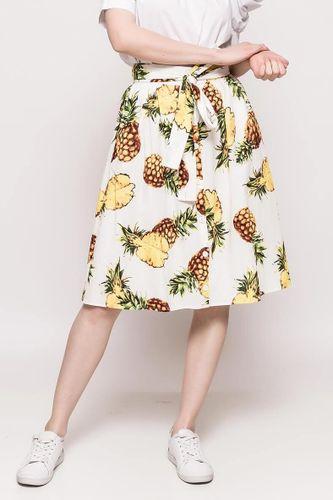 Biela midi sukňa s potlačou ananásov