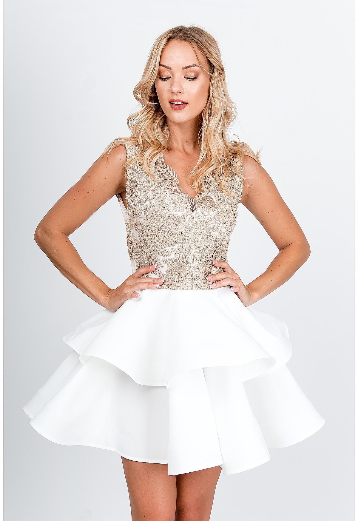 Smotanovobiele spoločenské šaty s volanovou sukňou - XS