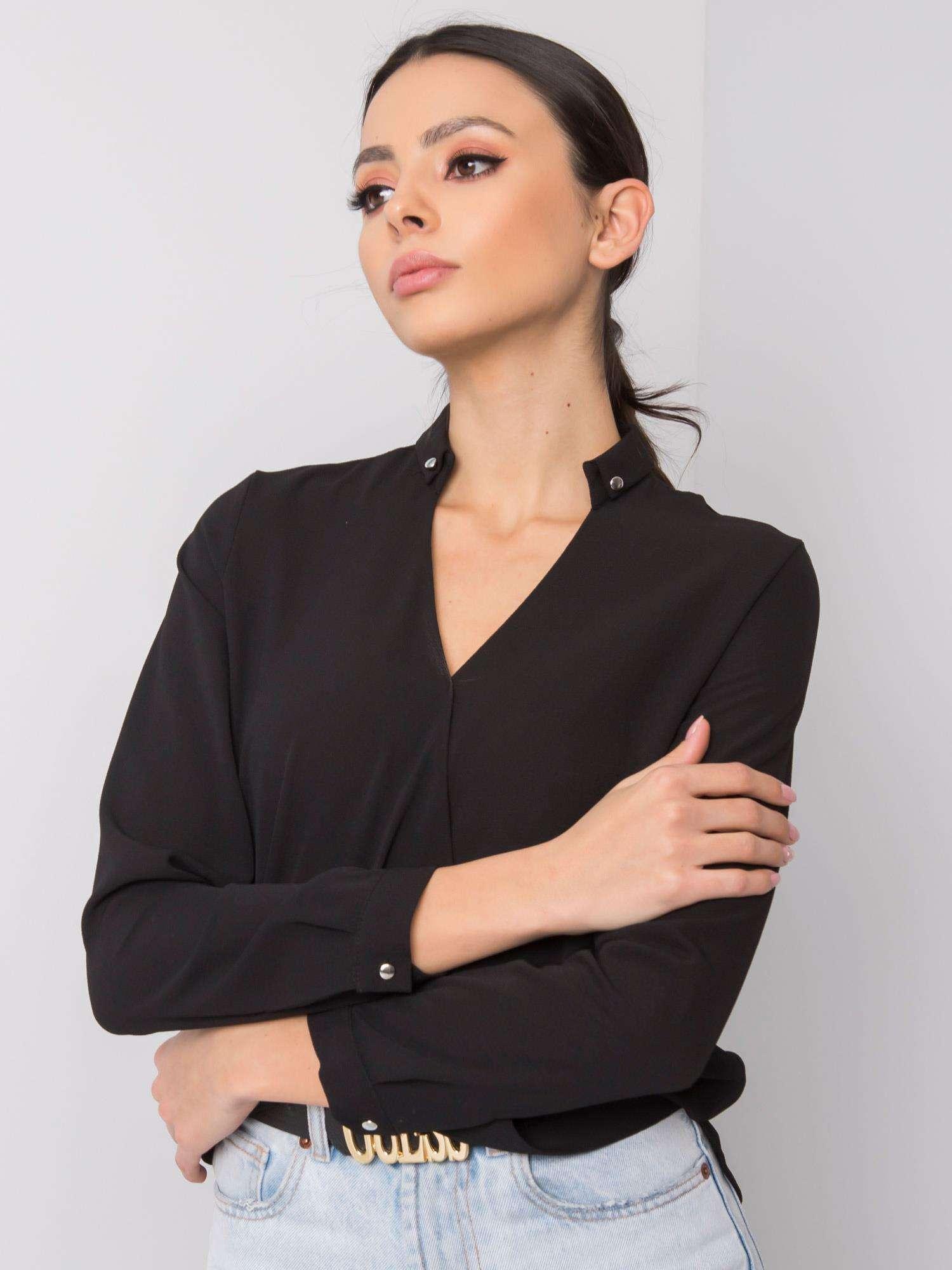 Čierna elegantná blúzka s dlhým rukávom - XXL