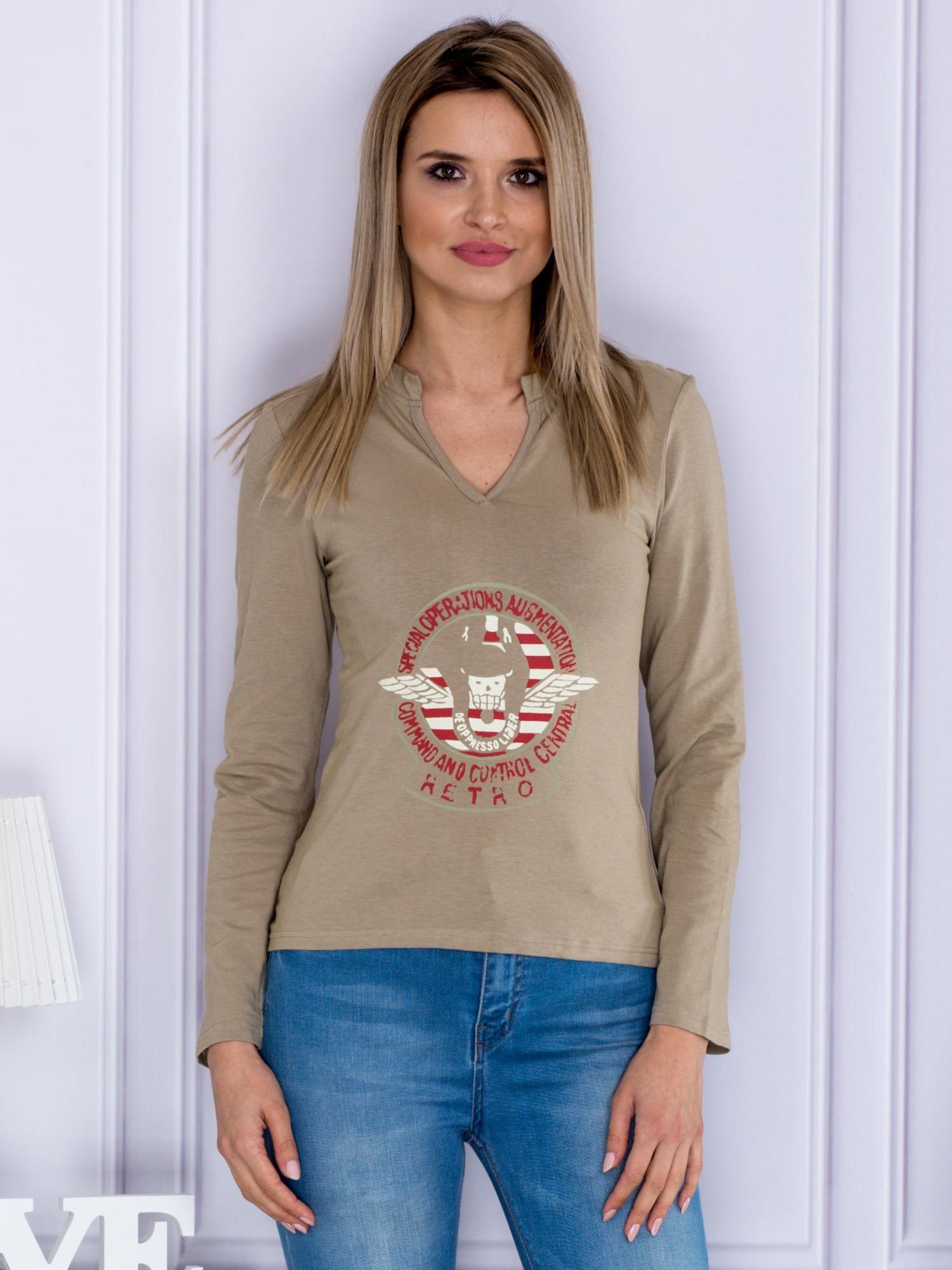 Olivové tričko s dlhým rukávom a potlačou - S