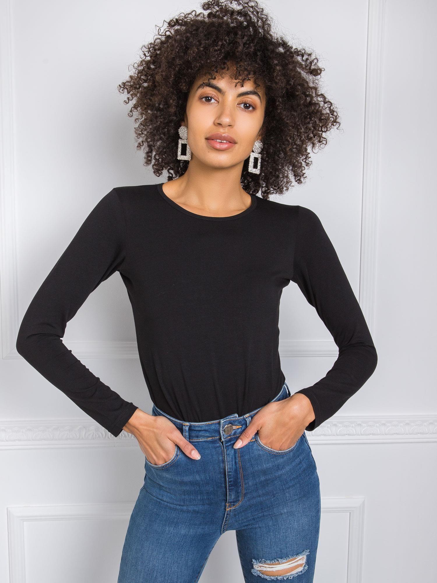 Čierne tričko s dlhým rukávom - S