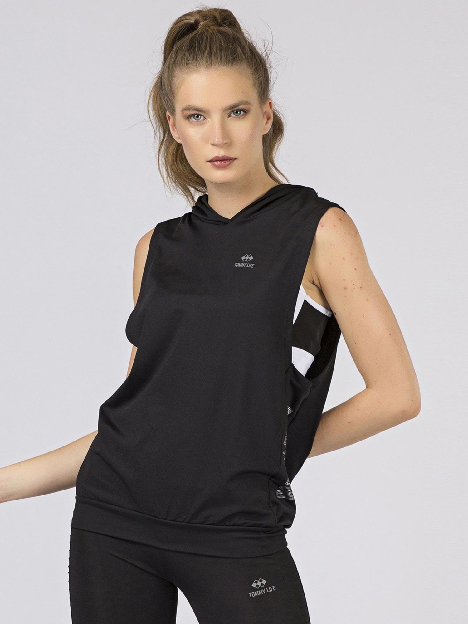 Čierna športová mikinová vesta - XL