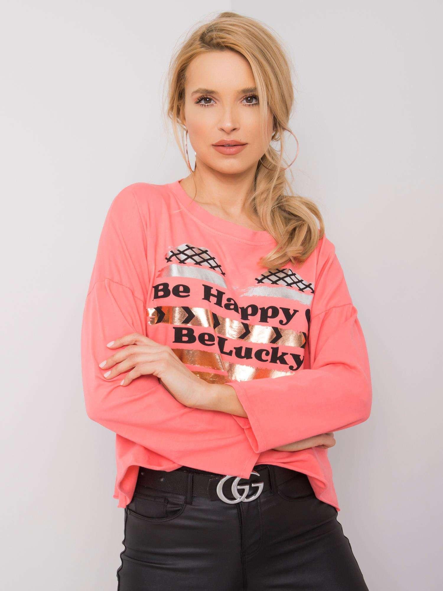 Ružové tričko s potlačou a dlhým rukávom - UNI