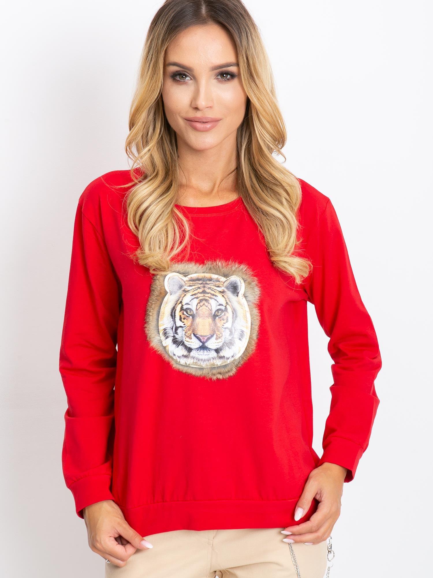 Červené tričko s potlačou a dlhým rukávom - S/M