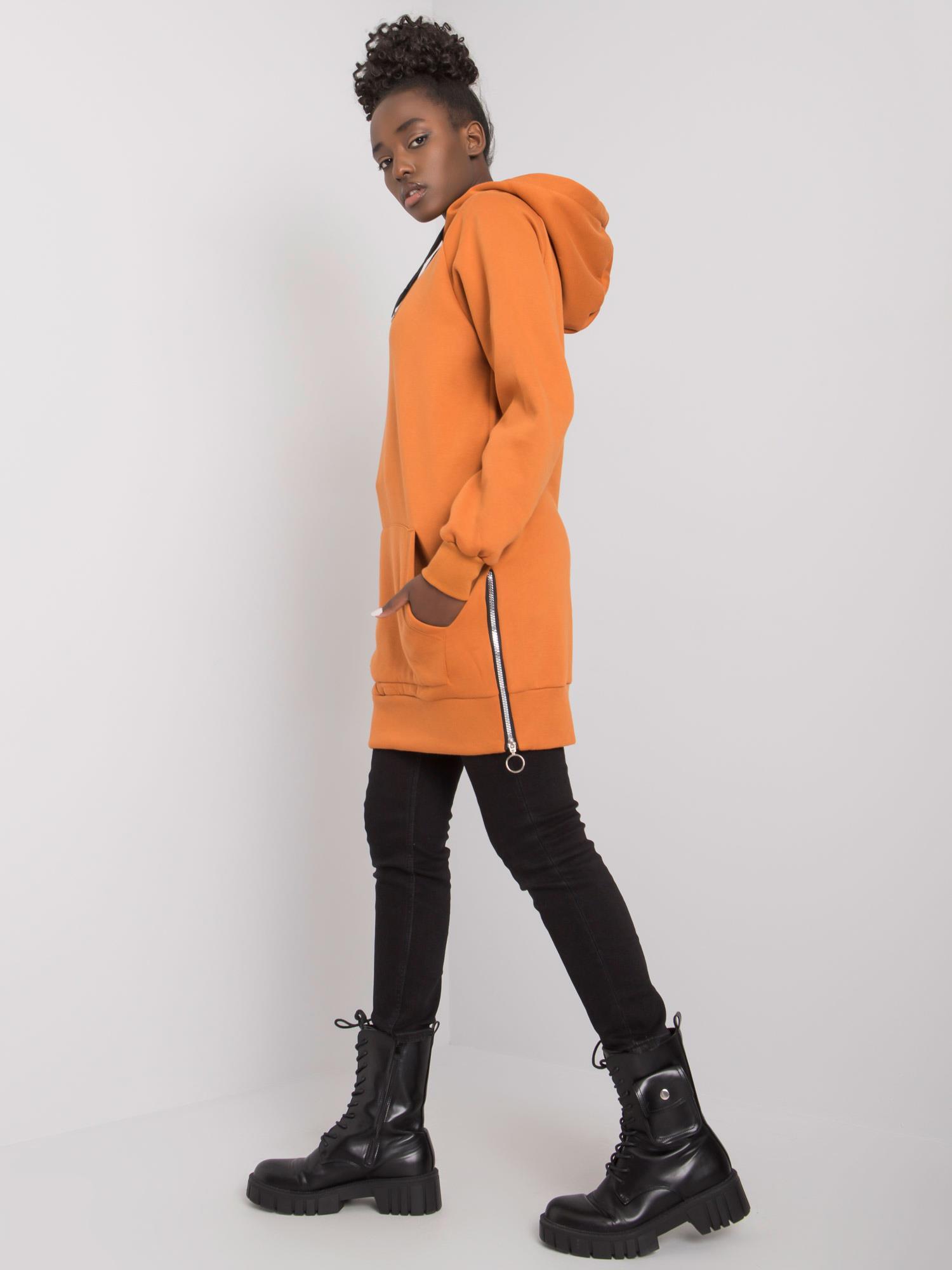 Oranžová zateplená mikina - L