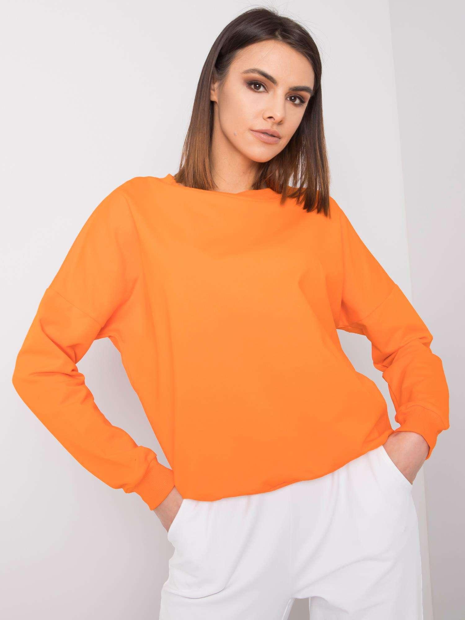 Bavlnená oranžová mikina bez kapucne - L