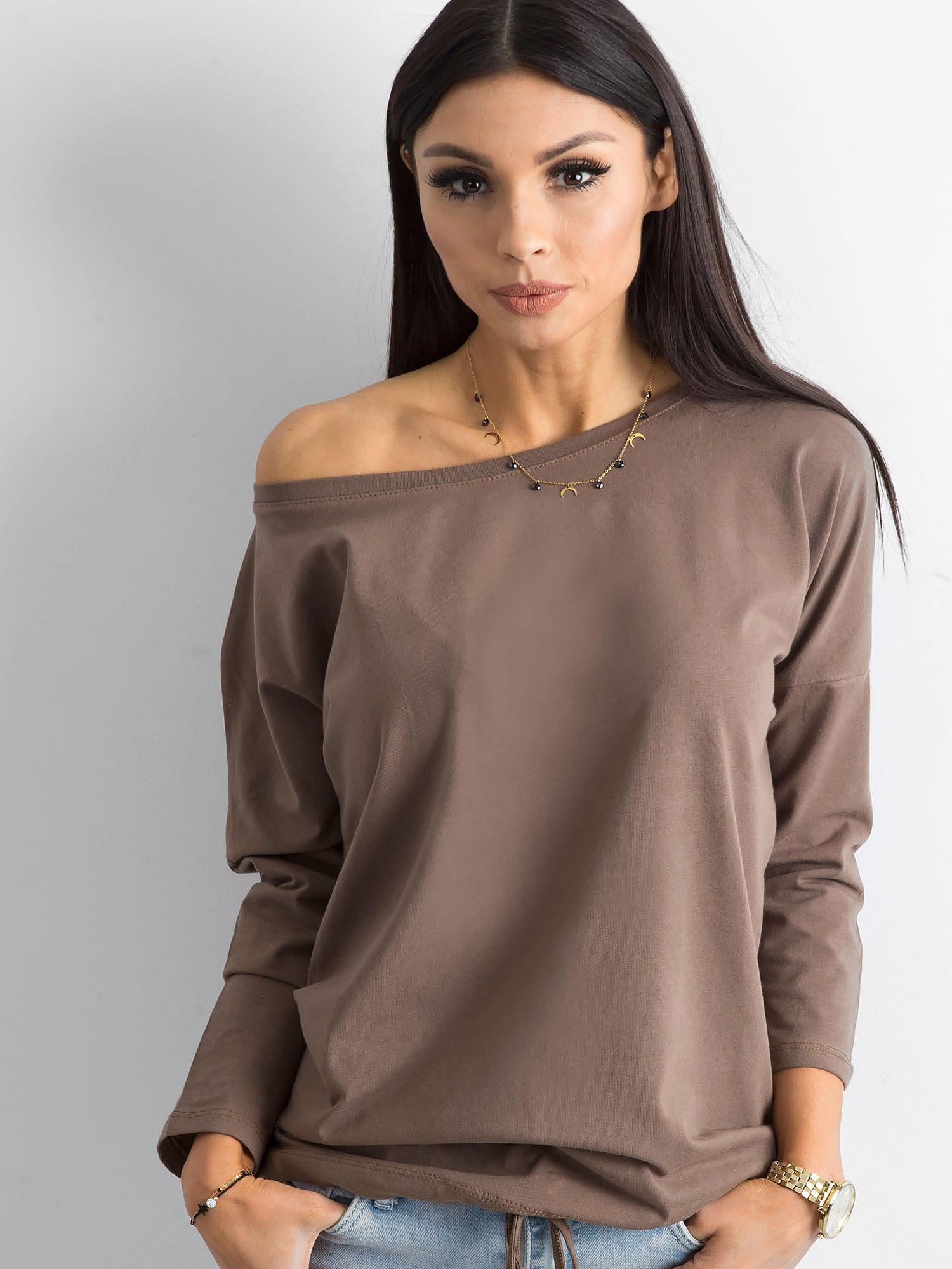 Antracitové tričko s dlhým rukávom a odhaleným rukávom - S