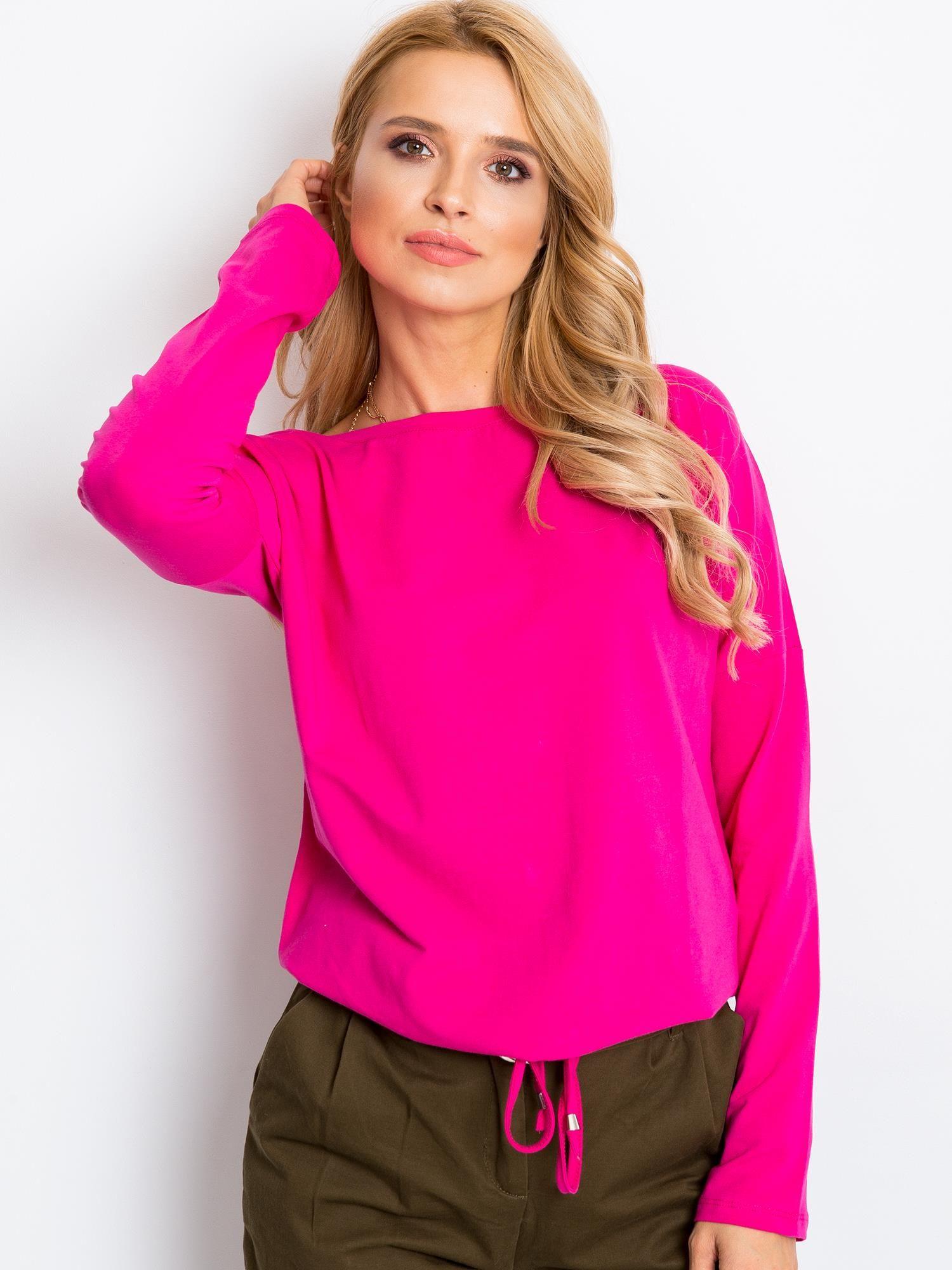 Ružové tričko s dlhým rukávom a spodnou šnúrkou - S