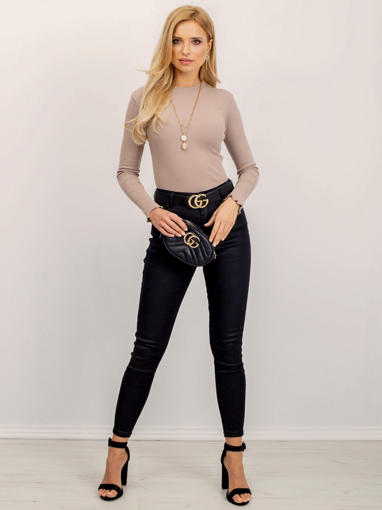 Béžové tričko s dlhým rukávom a stojačikom - S