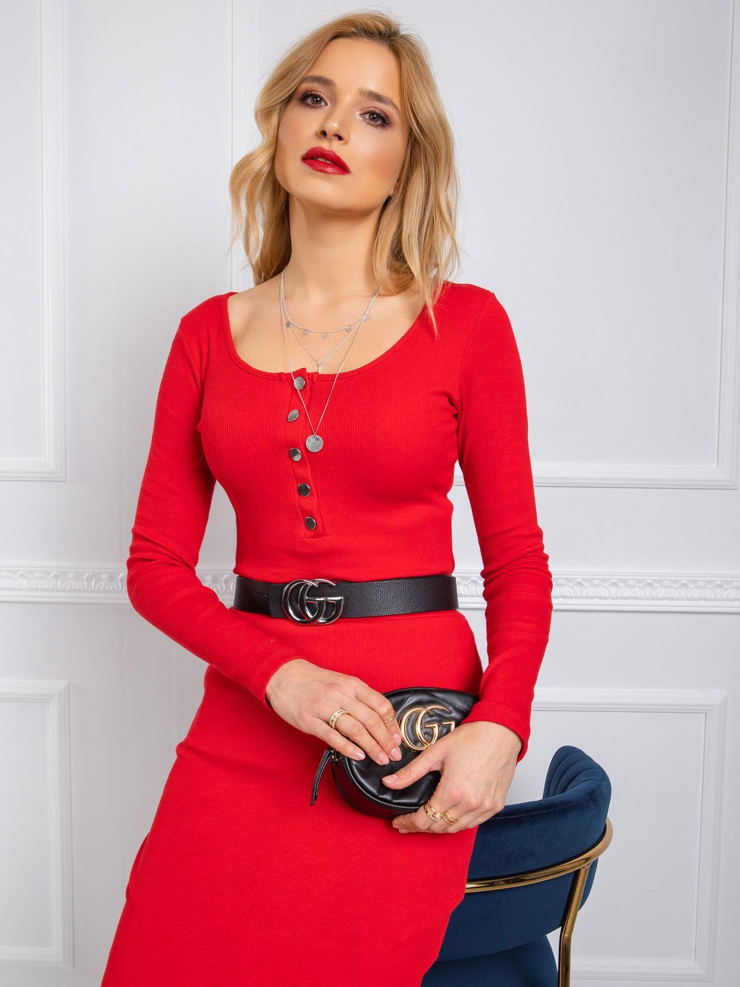 Červené tričko s dlhým rukávom a gombíkmi - S/M