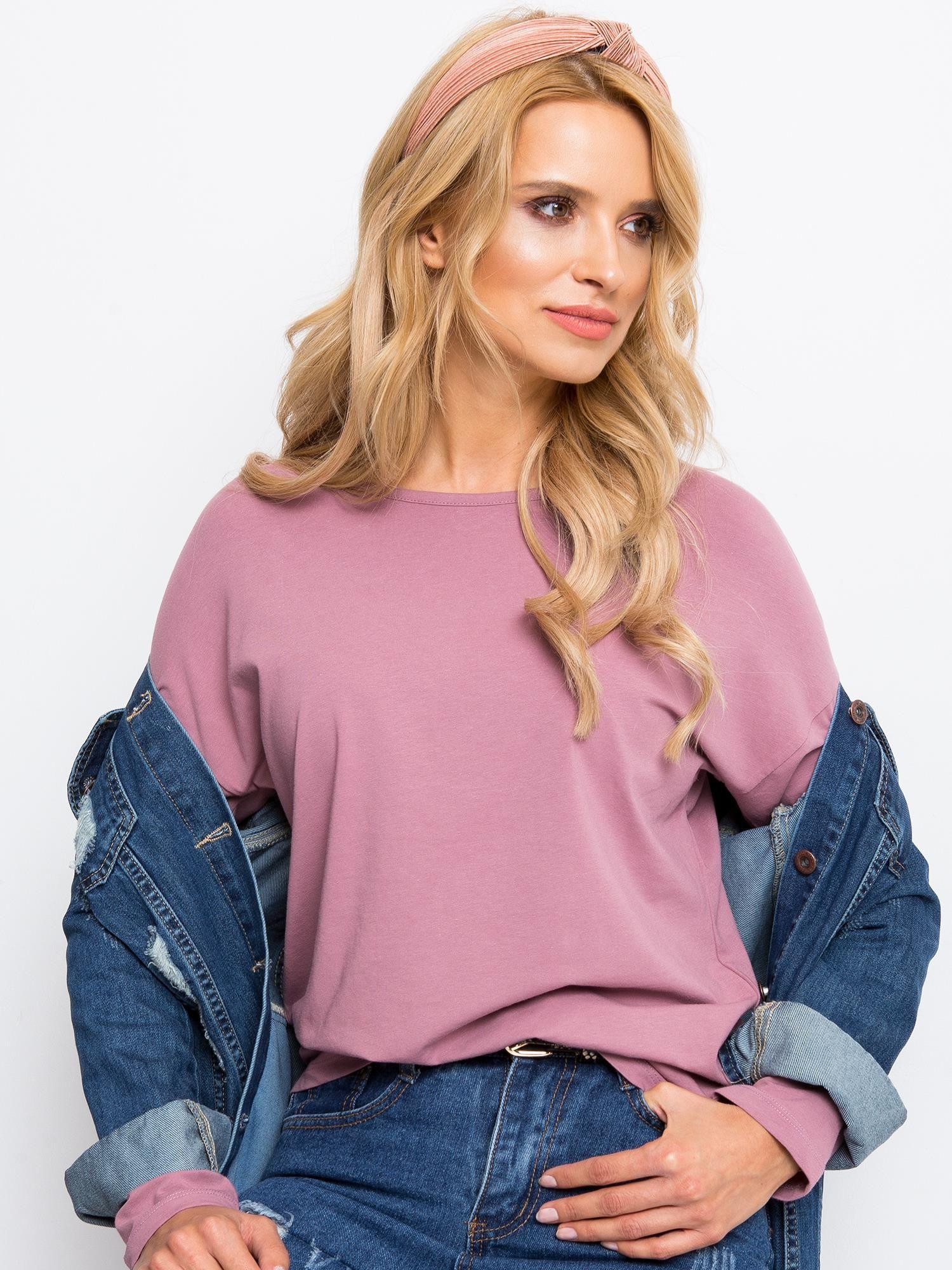 Ružové tričko s dlhým rukávom - S