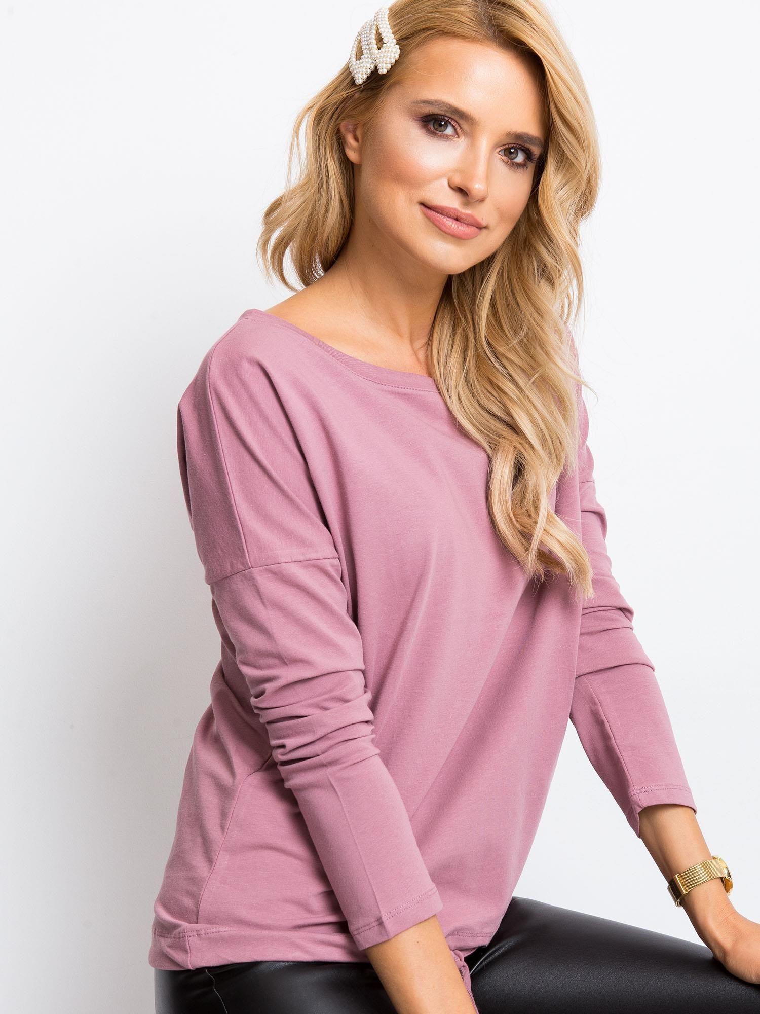 Svetlo ružové tričko s dlhým rukávom - S