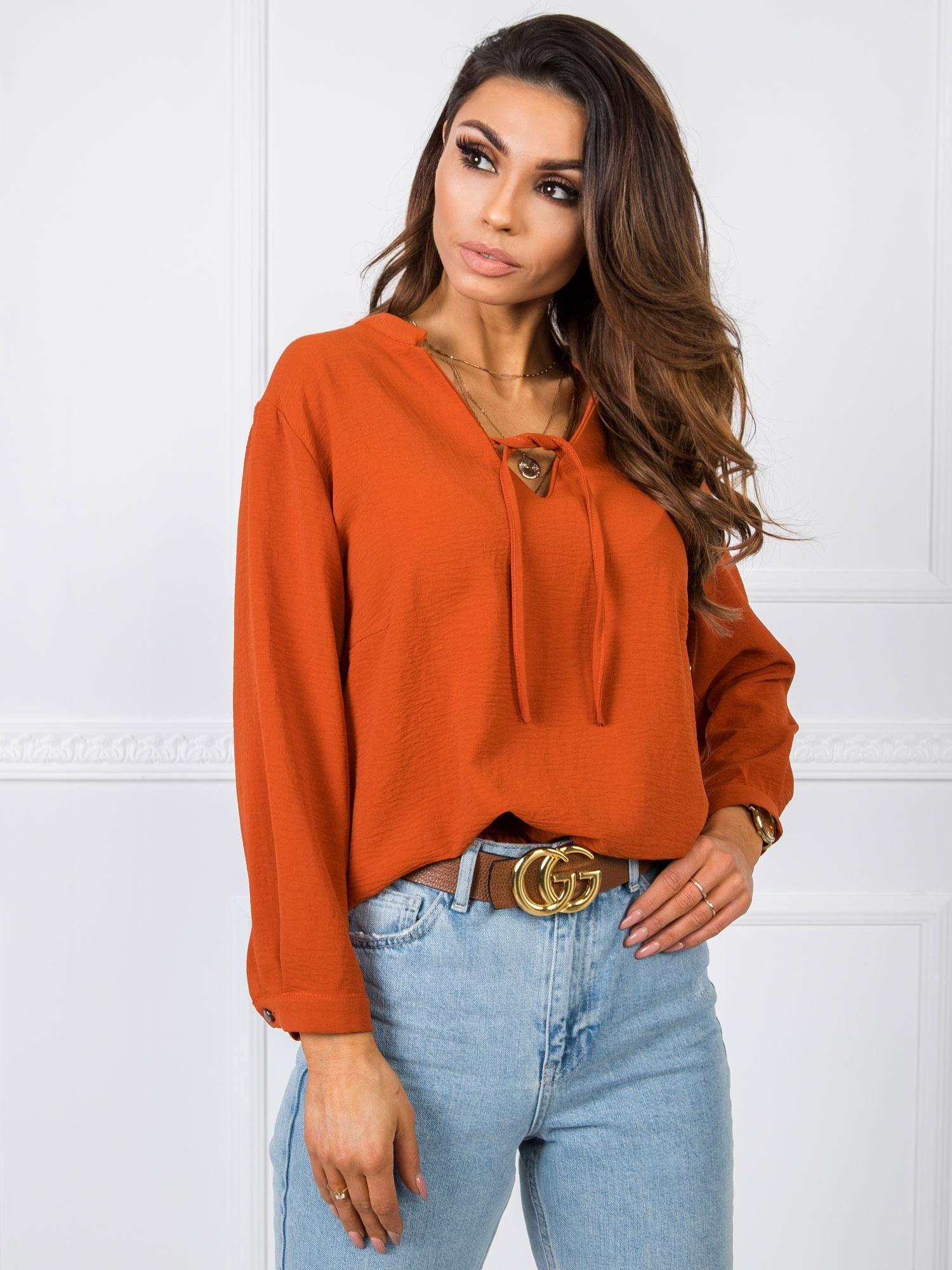 Oranžová mikina s dlhým rukávom - L