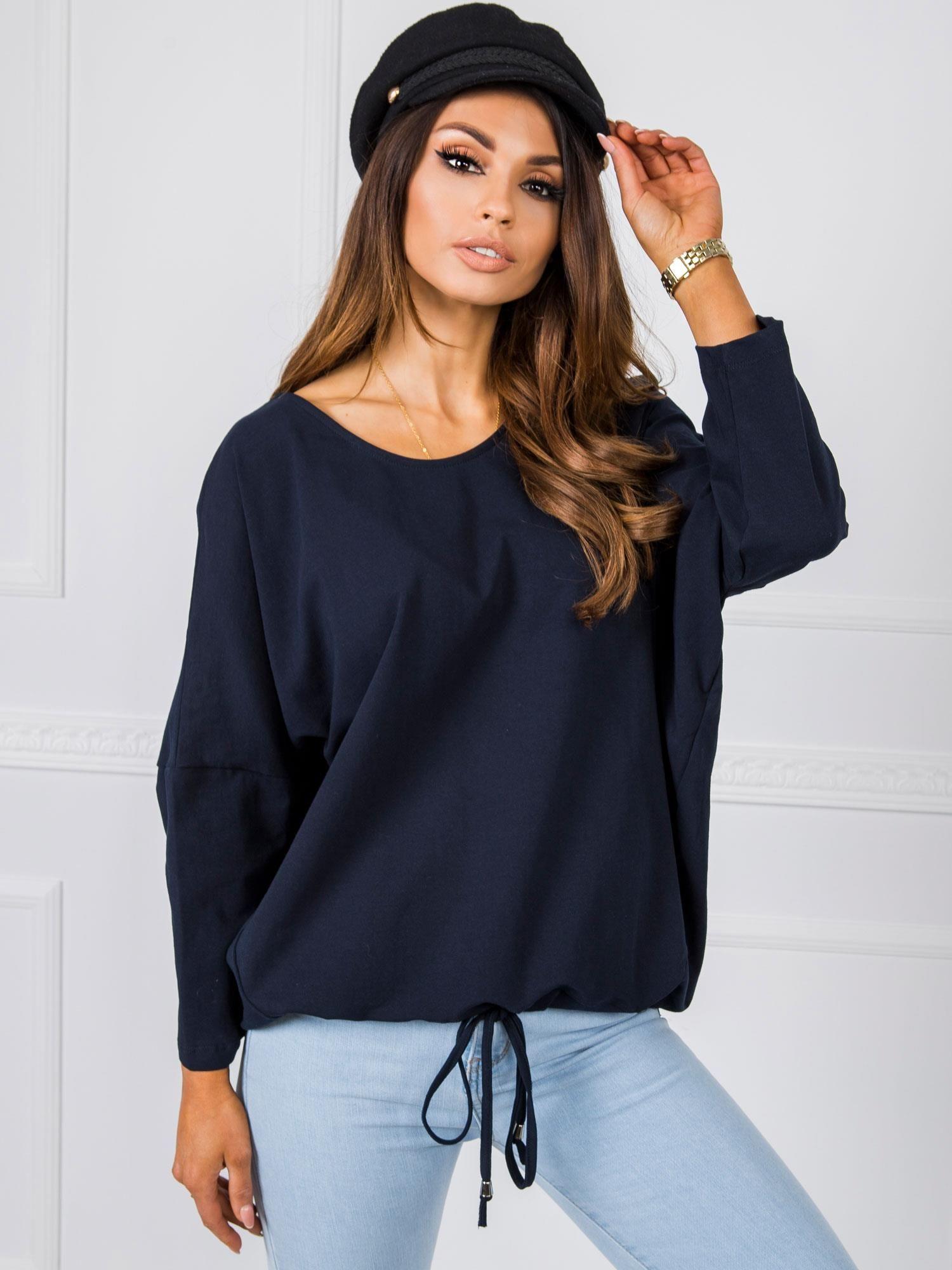 Modré tričko s dlhým rukávom a šnúrkou - S/M