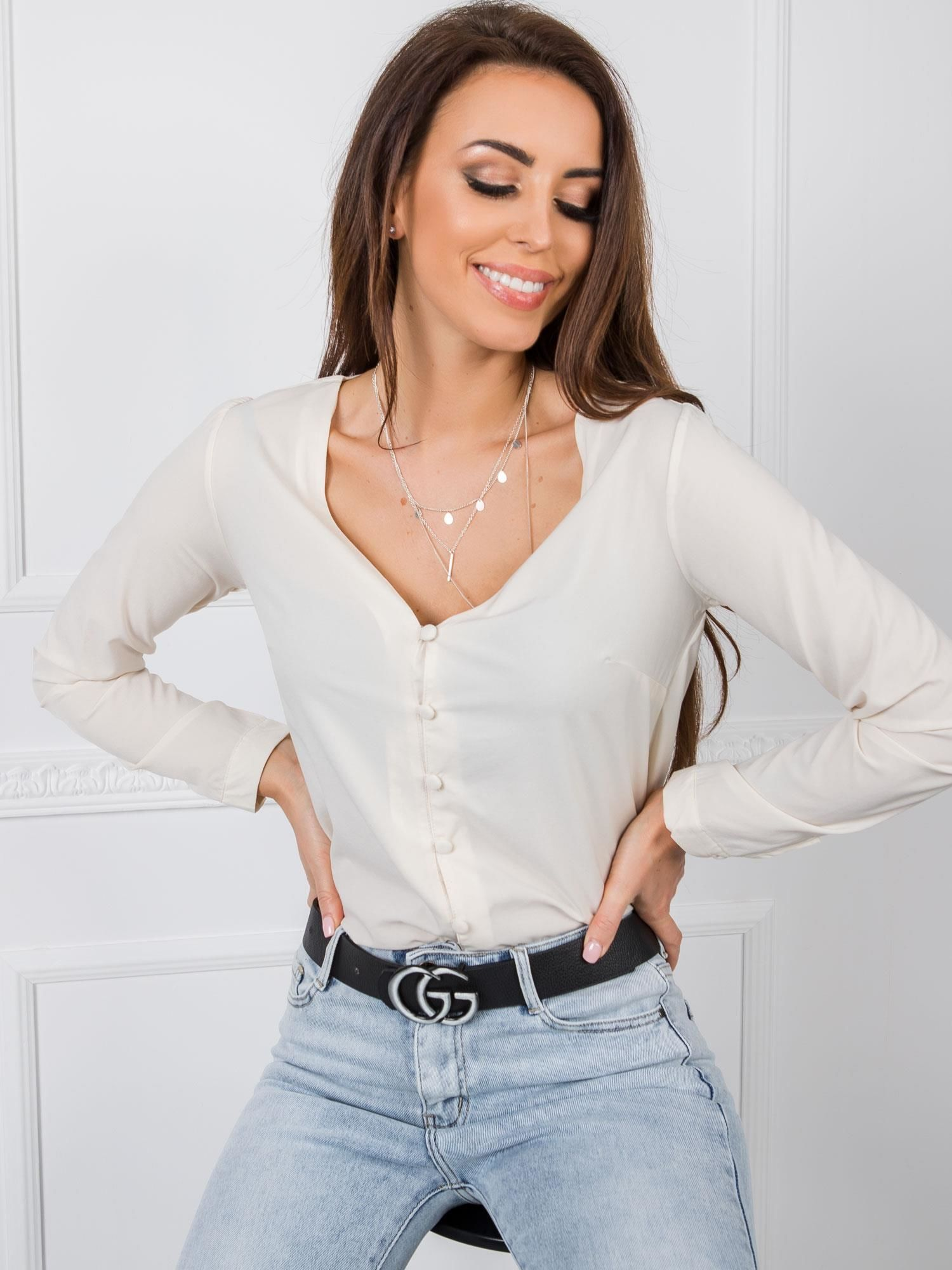 Béžové tričko s dlhým rukávom a gombíkmi - S