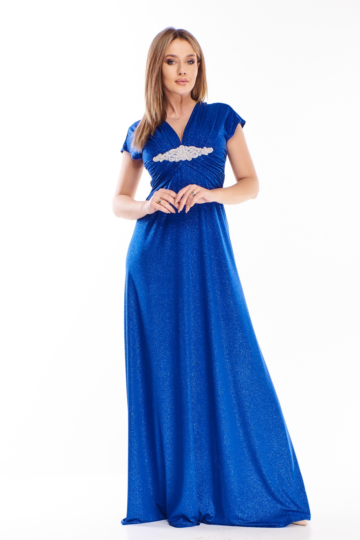 Dlhé modré šaty s ozdobou pod prsiami - 40