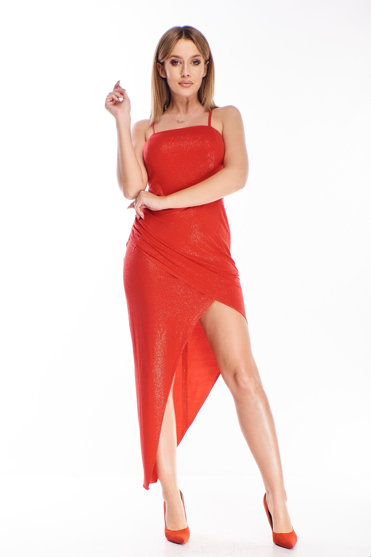 Spoločenské midi šaty na ramienka červené - 34