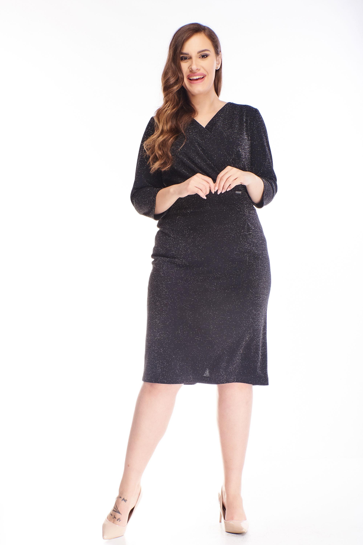 Krátke brokátové šaty strihané v páse čierne - 46