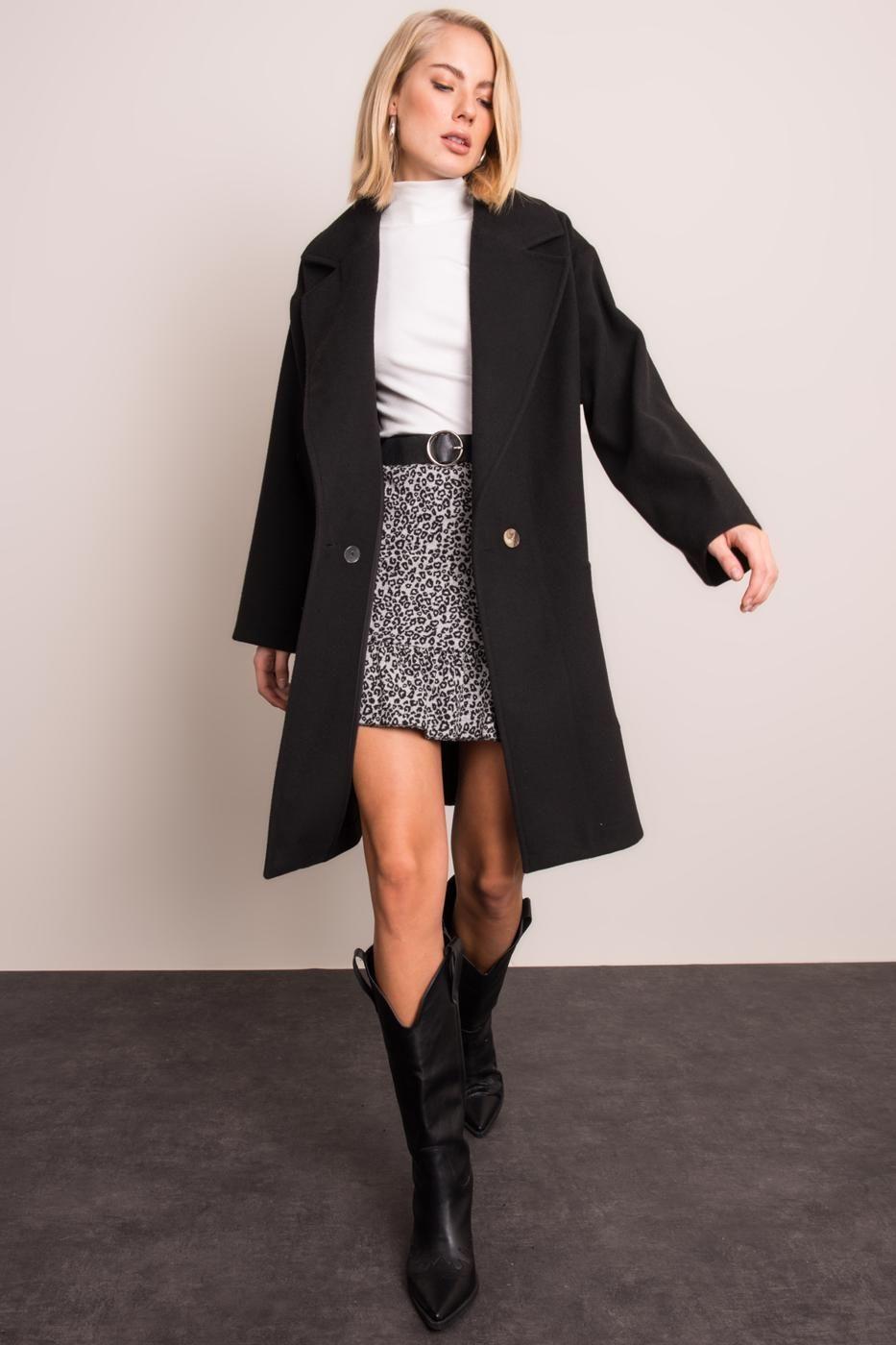 Dámsky čierny kabát - M