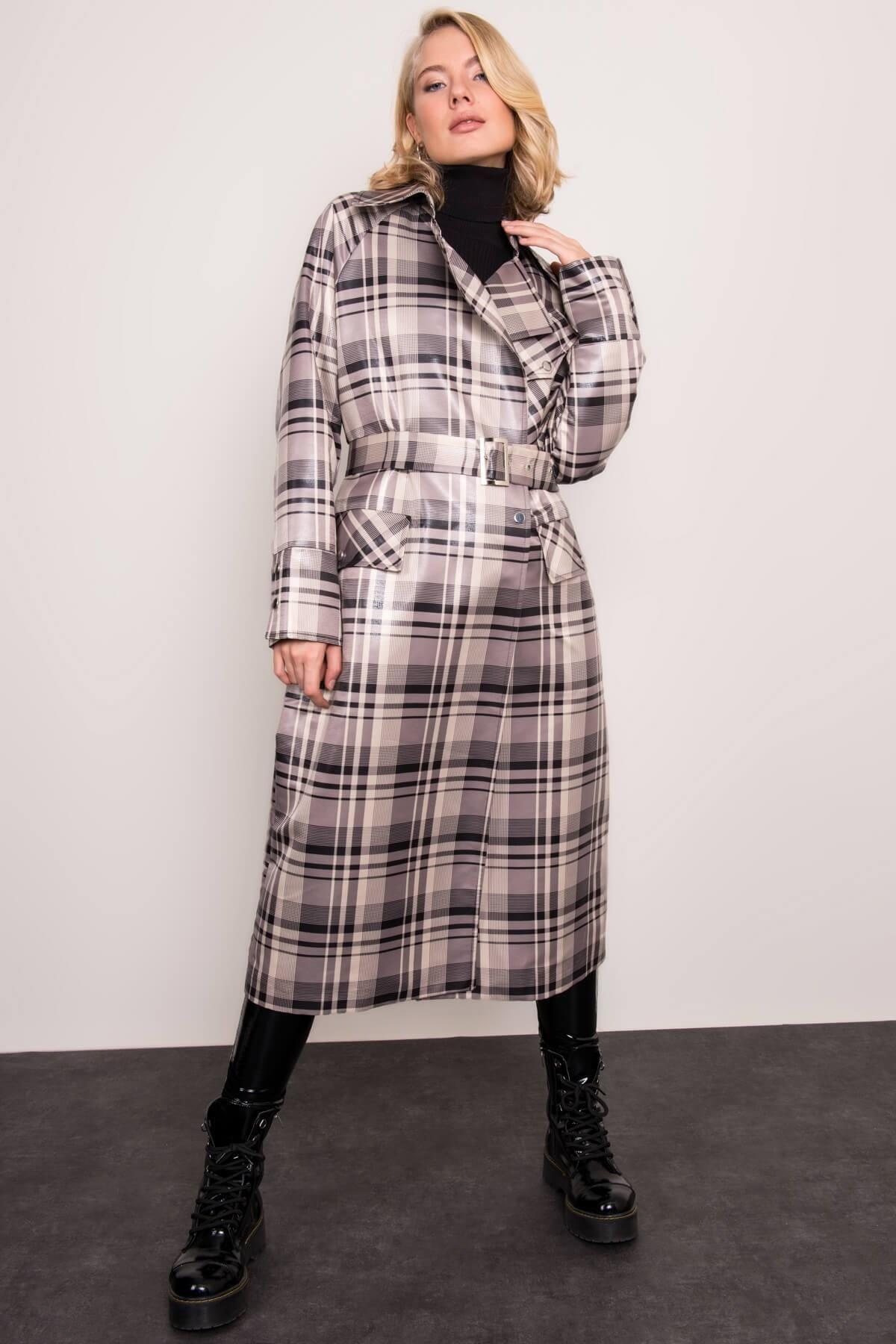 sivo-čierny kockovaný dlhý kabát s opaskom - M