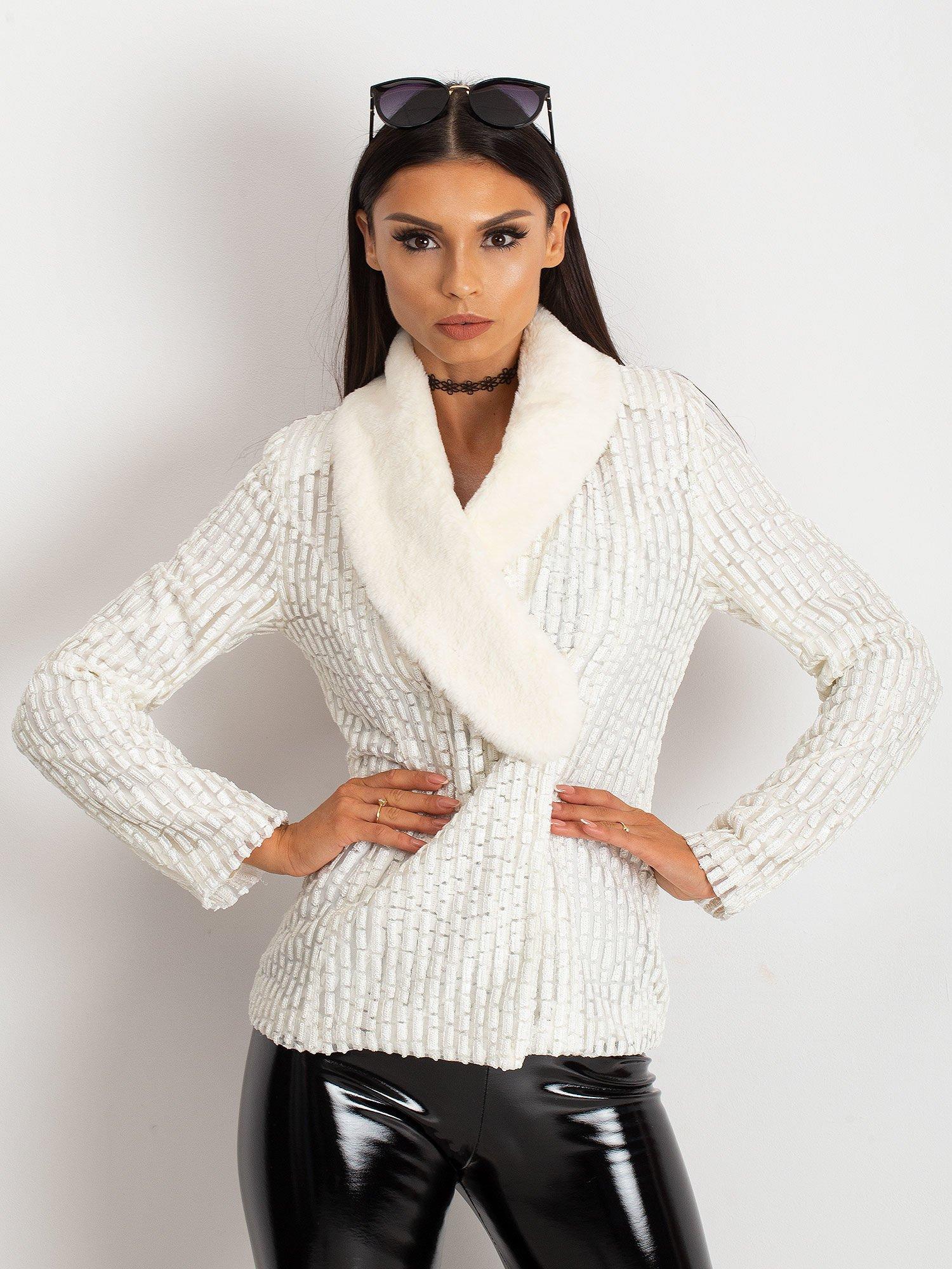 Béžová dámska bunda s kožušinou - 36