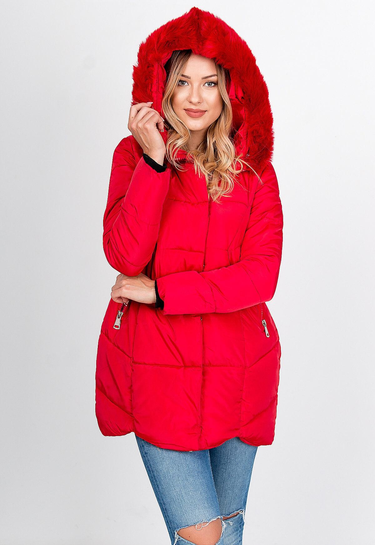 Teplá červená bunda s kožušinkou
