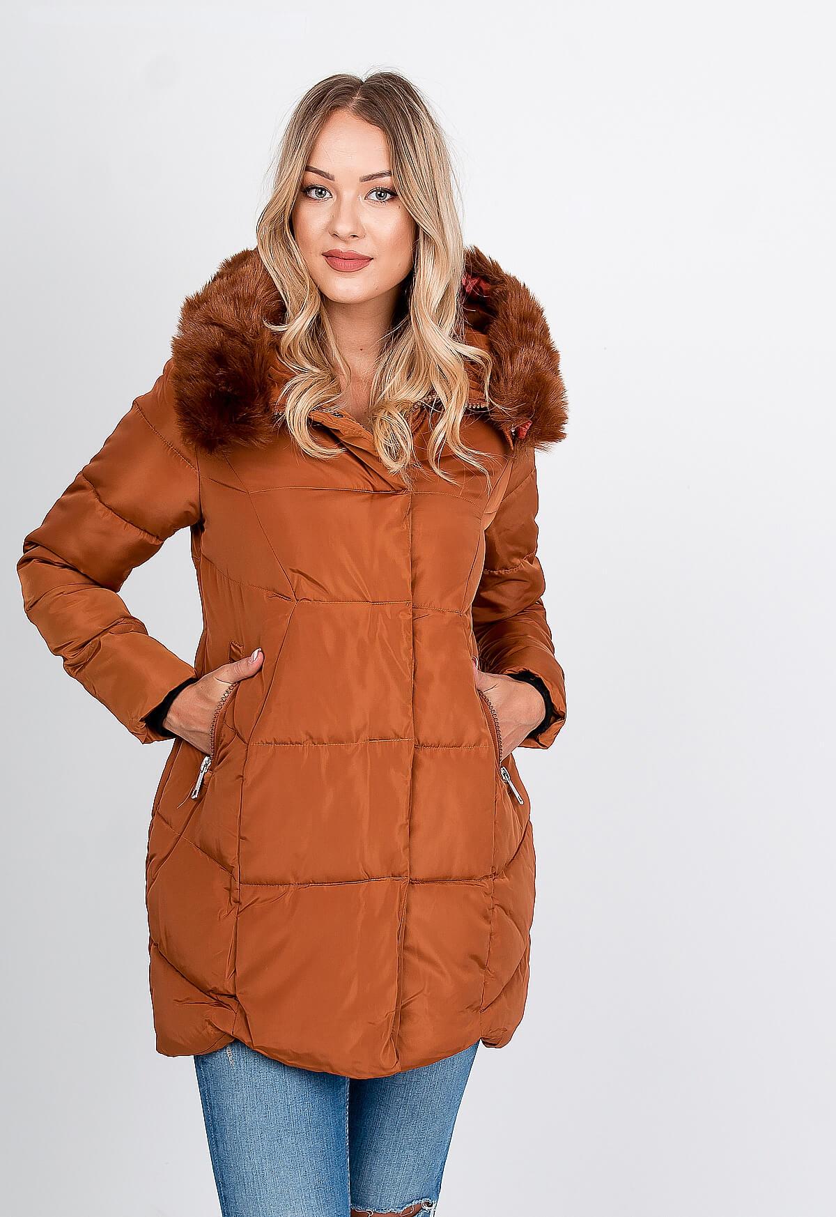 Teplá hnedá bunda s kožušinkou