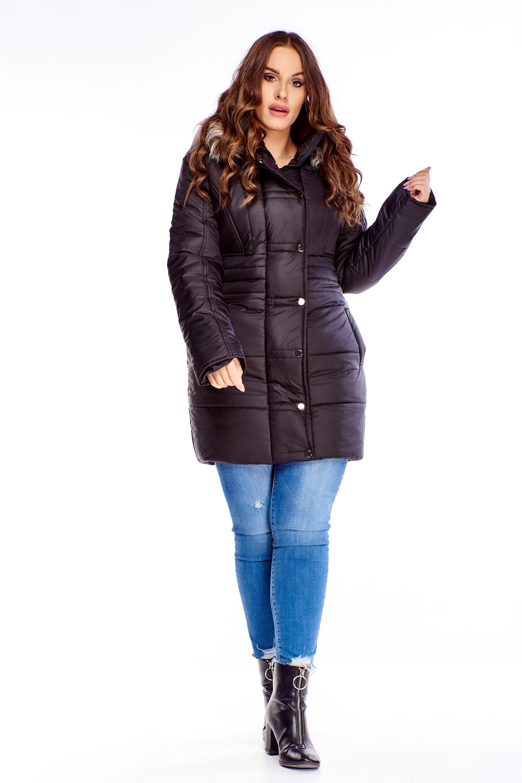 Dlhá dámska zimná bunda s kapucňou