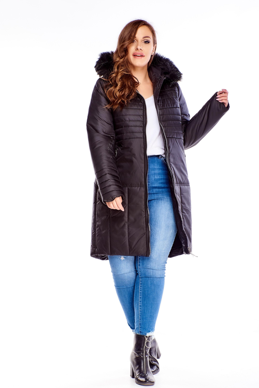 Dlhá zimná čierna bunda s kožušinkou