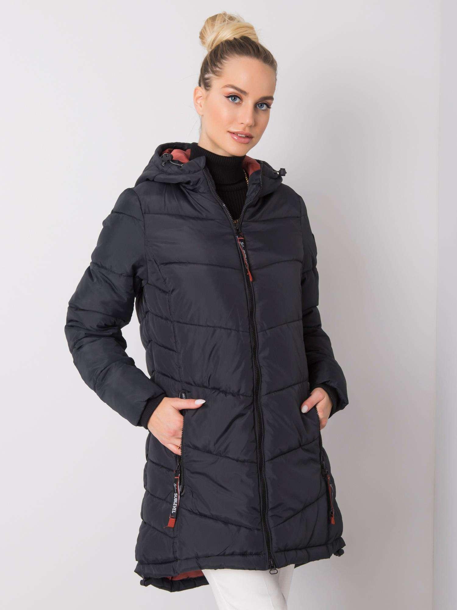 Čierna bunda s kapucňou - XXL