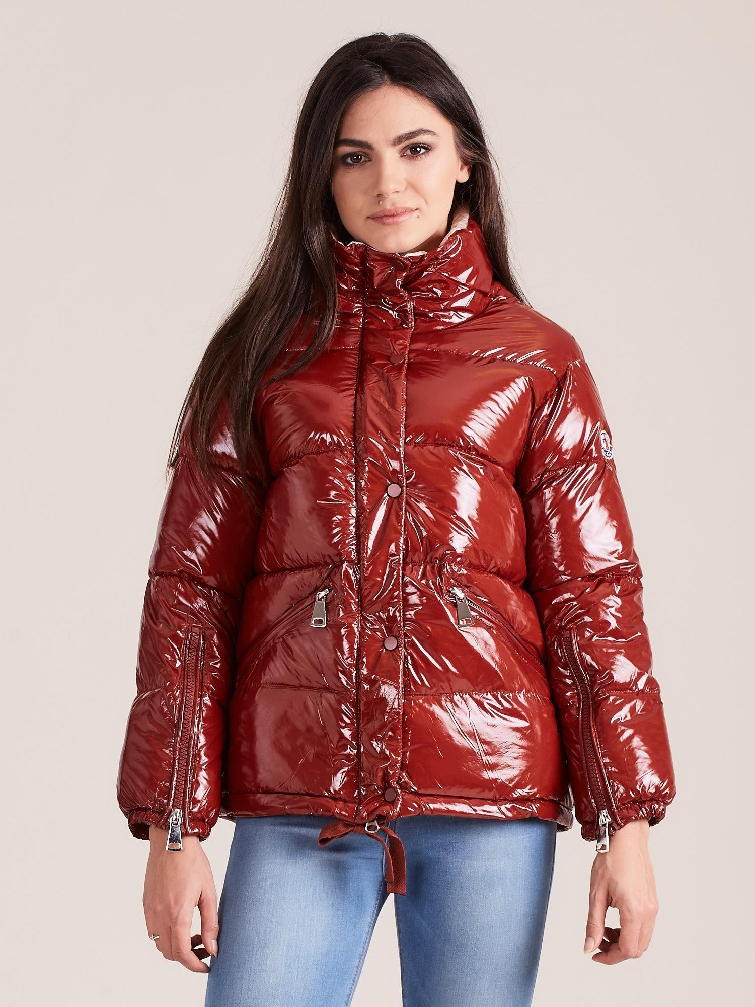 Lesklá hnedá zimná bunda - S