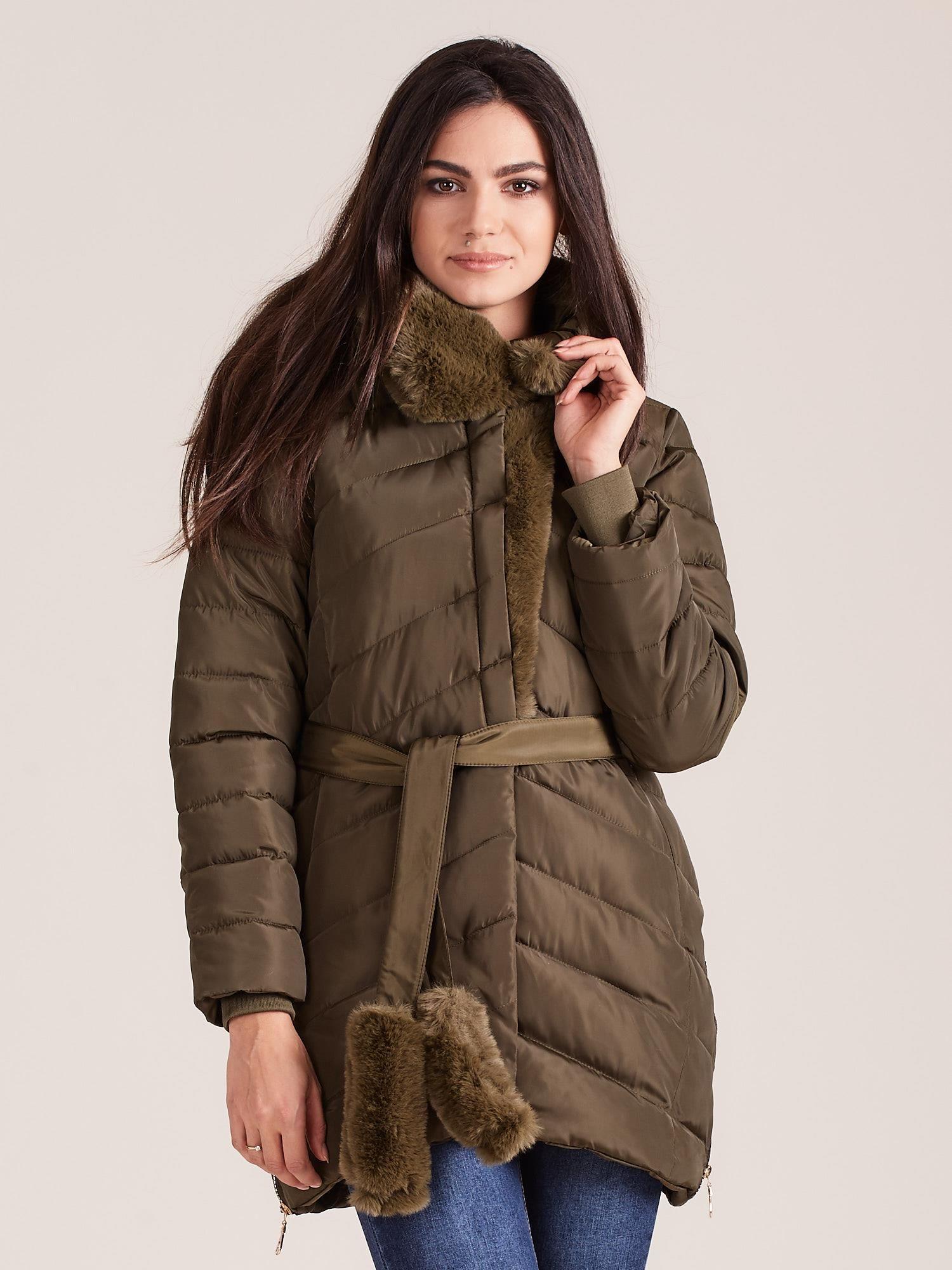 Zimná prešívaná kaki bunda - S