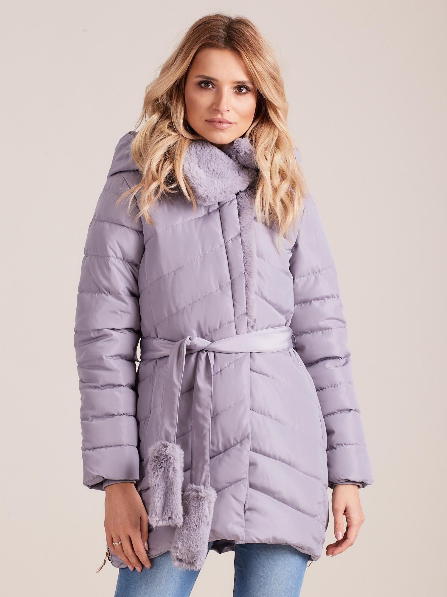 Zimná prešívaná bunda s kožušinkou - S