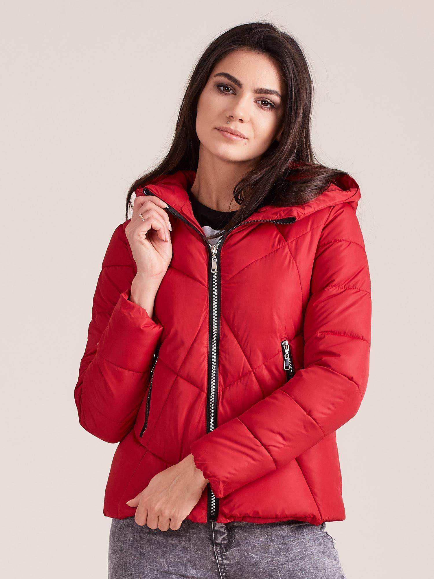 Zimná krátka bunda červenej farby - XL