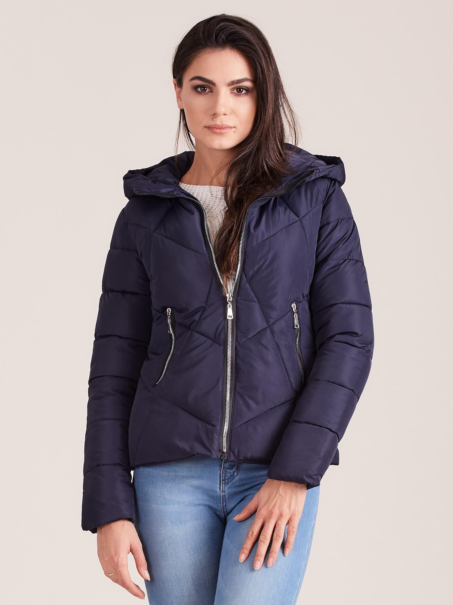 Zimná krátka bunda v tmavomodrej farbe - M