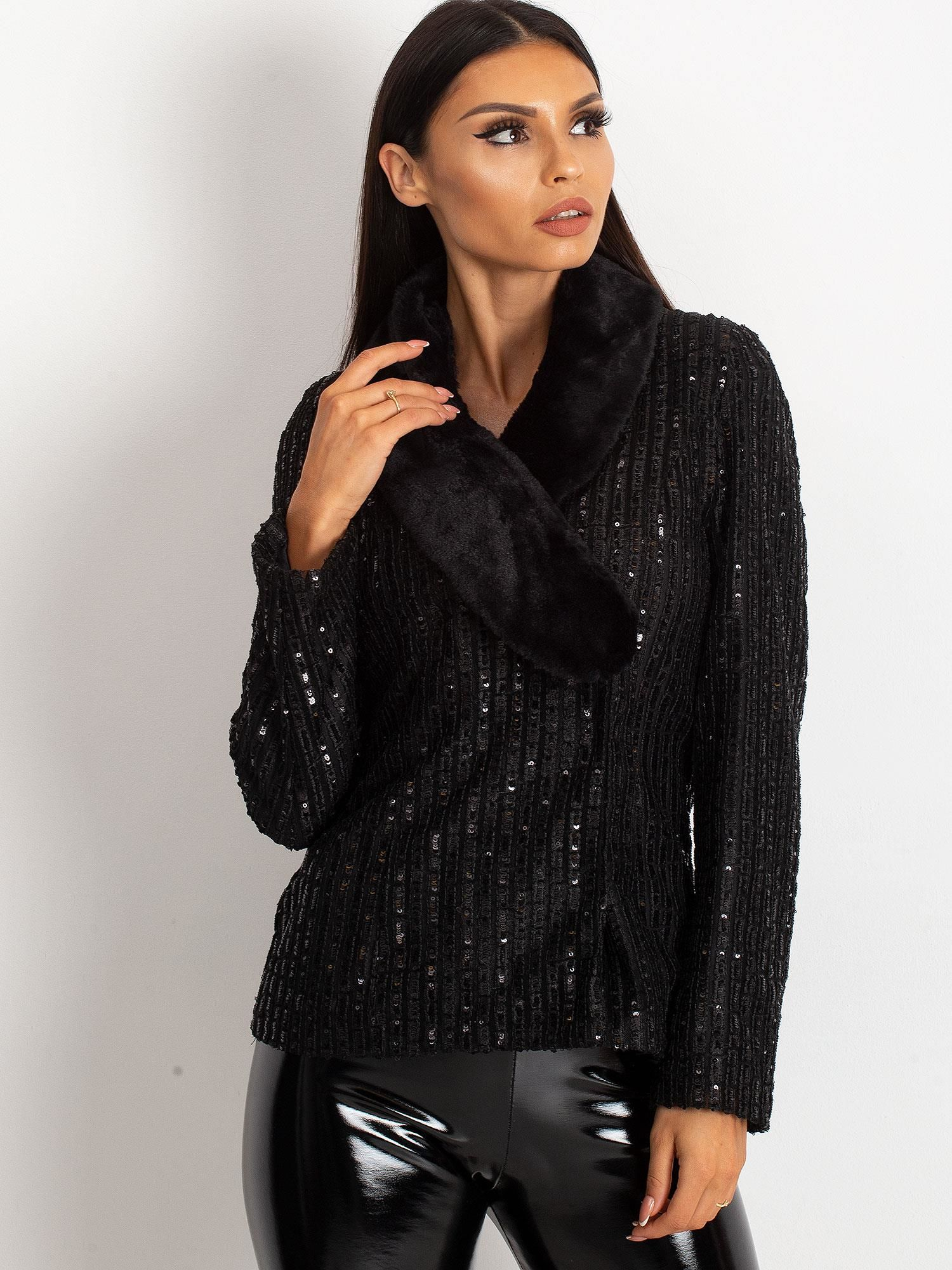 Čierna dámska bunda s kožušinou - 36