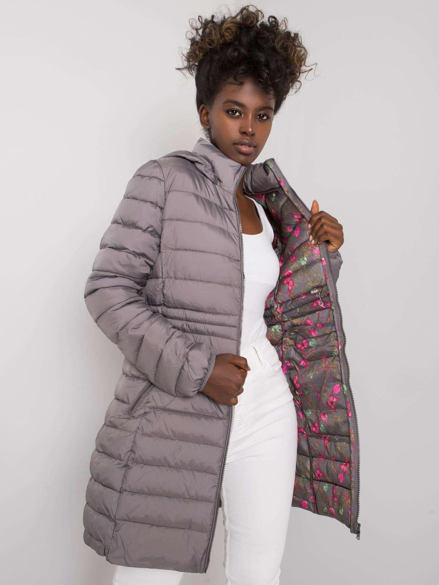 Dámska zimná bunda tmavosivej - S