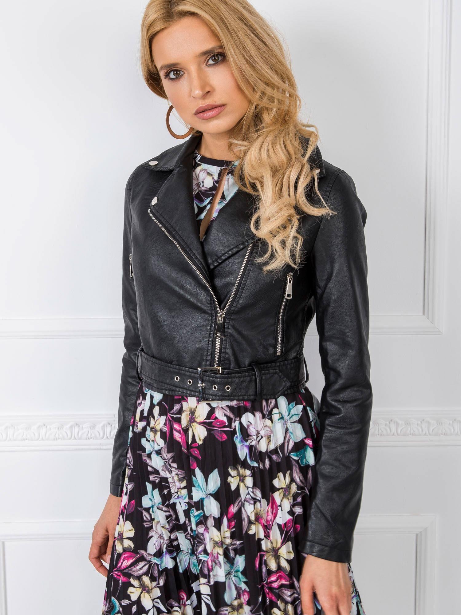 Čierna koženková bunda - S