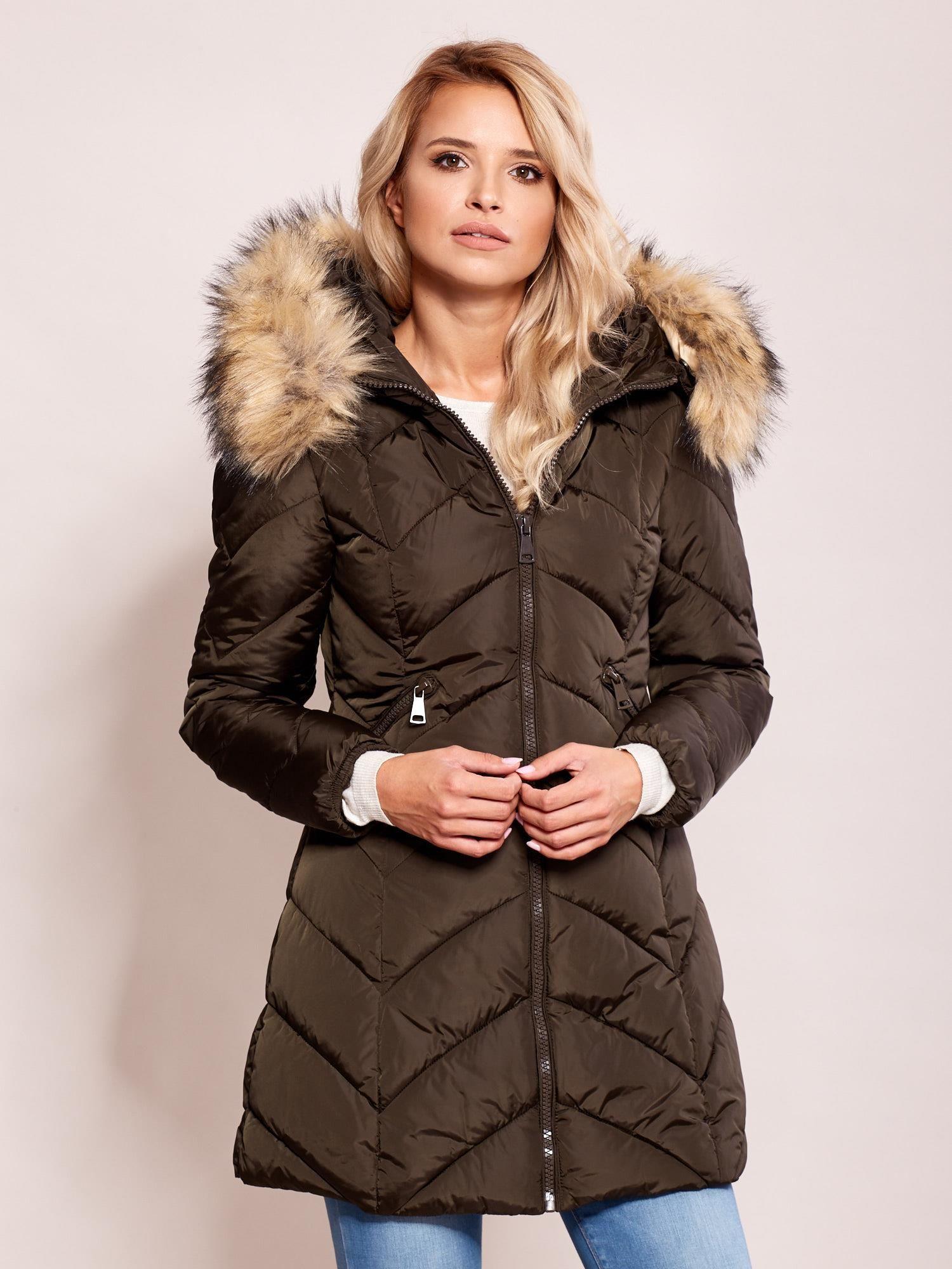 Prešívaná zimná kaki bunda s kožušinou - S