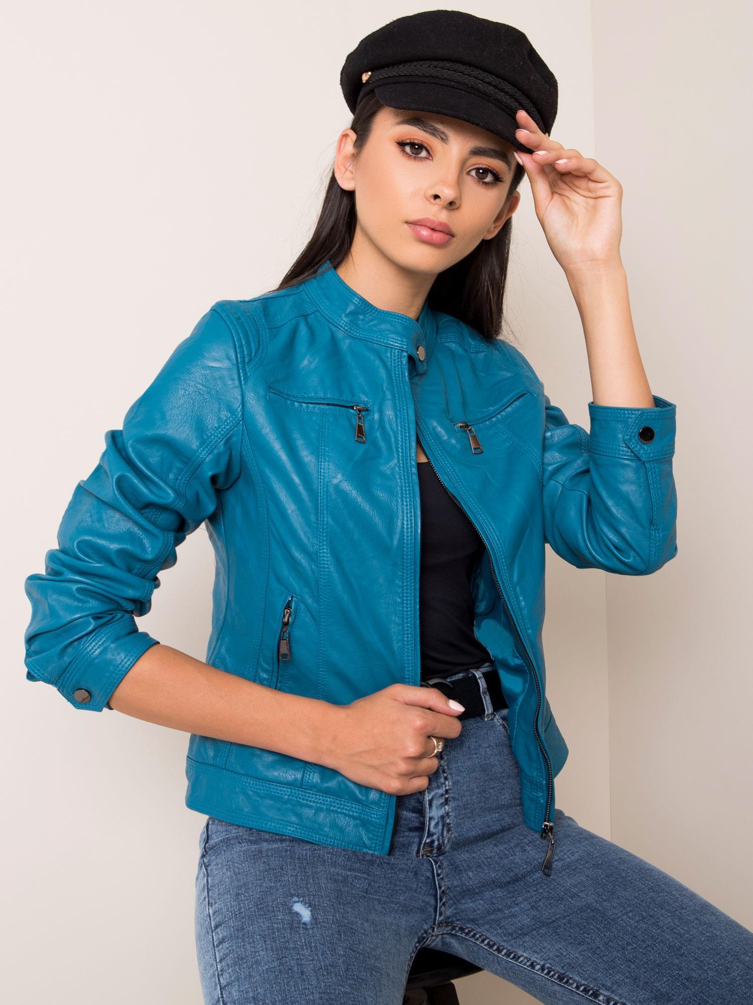 Dámska modrá bunda z umelej kože - S