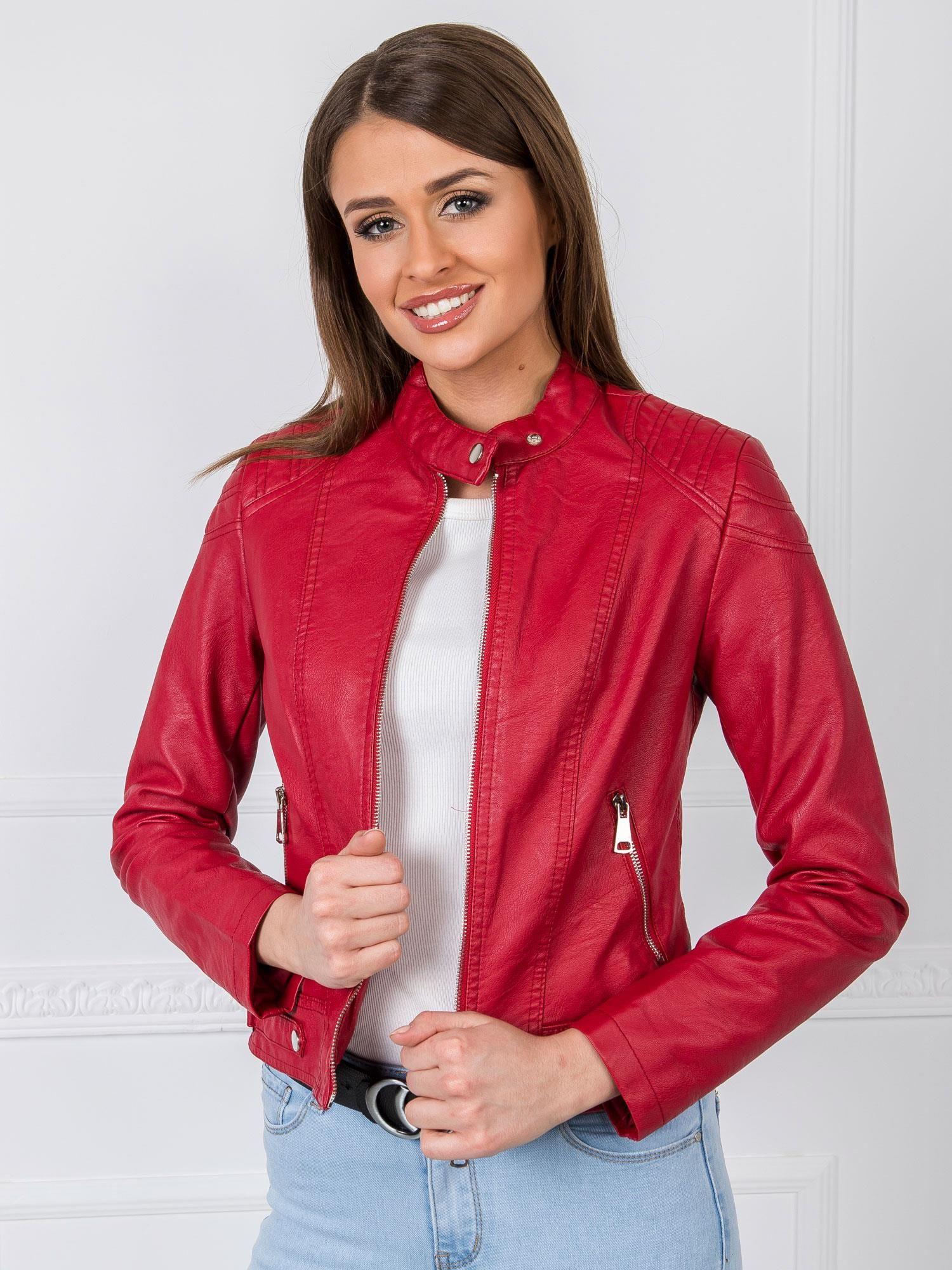 Dámska tmavo červená krátka bunda - XL