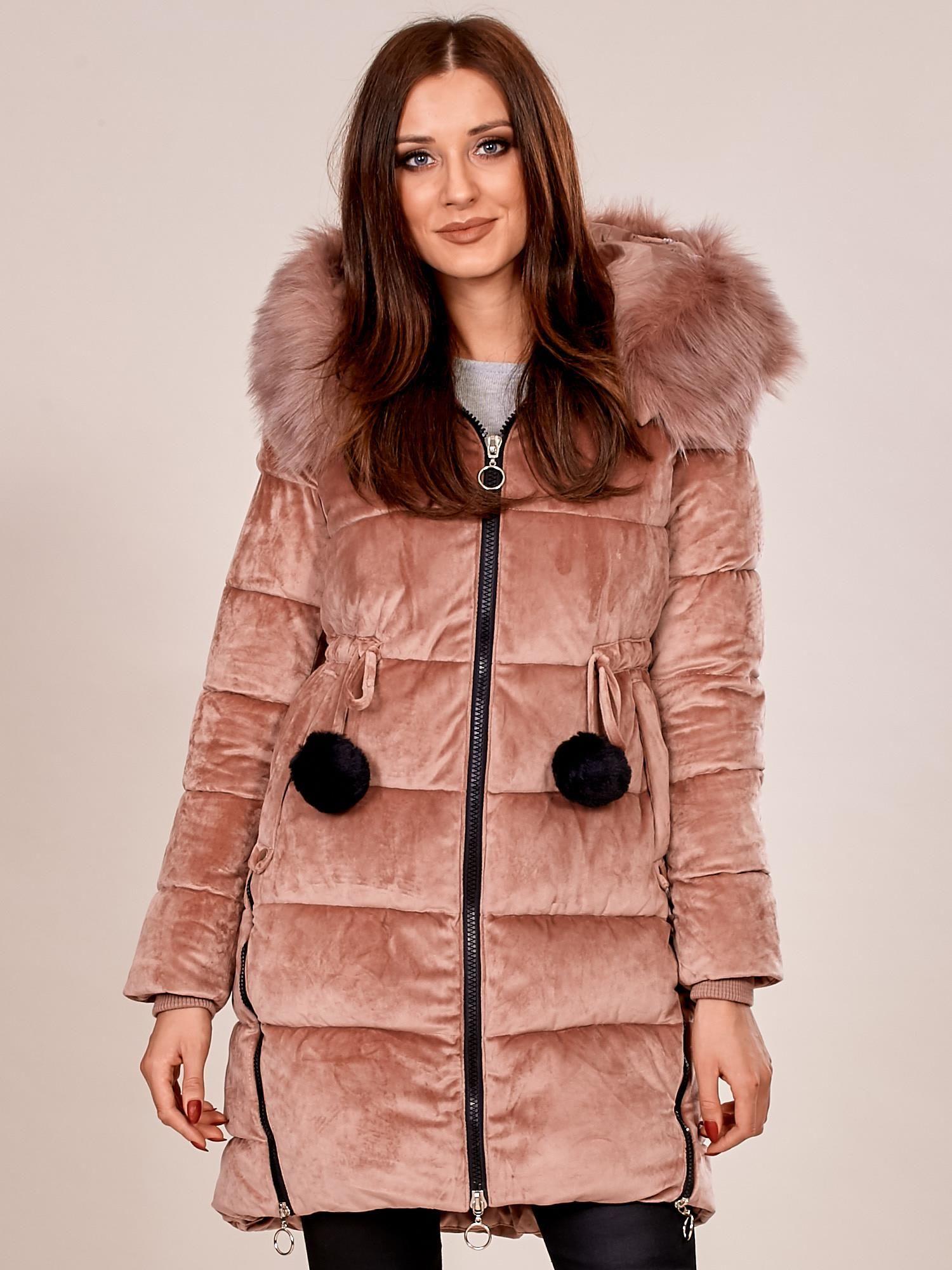 Svetloružová prešívaná zimná bunda s kapucňou - M