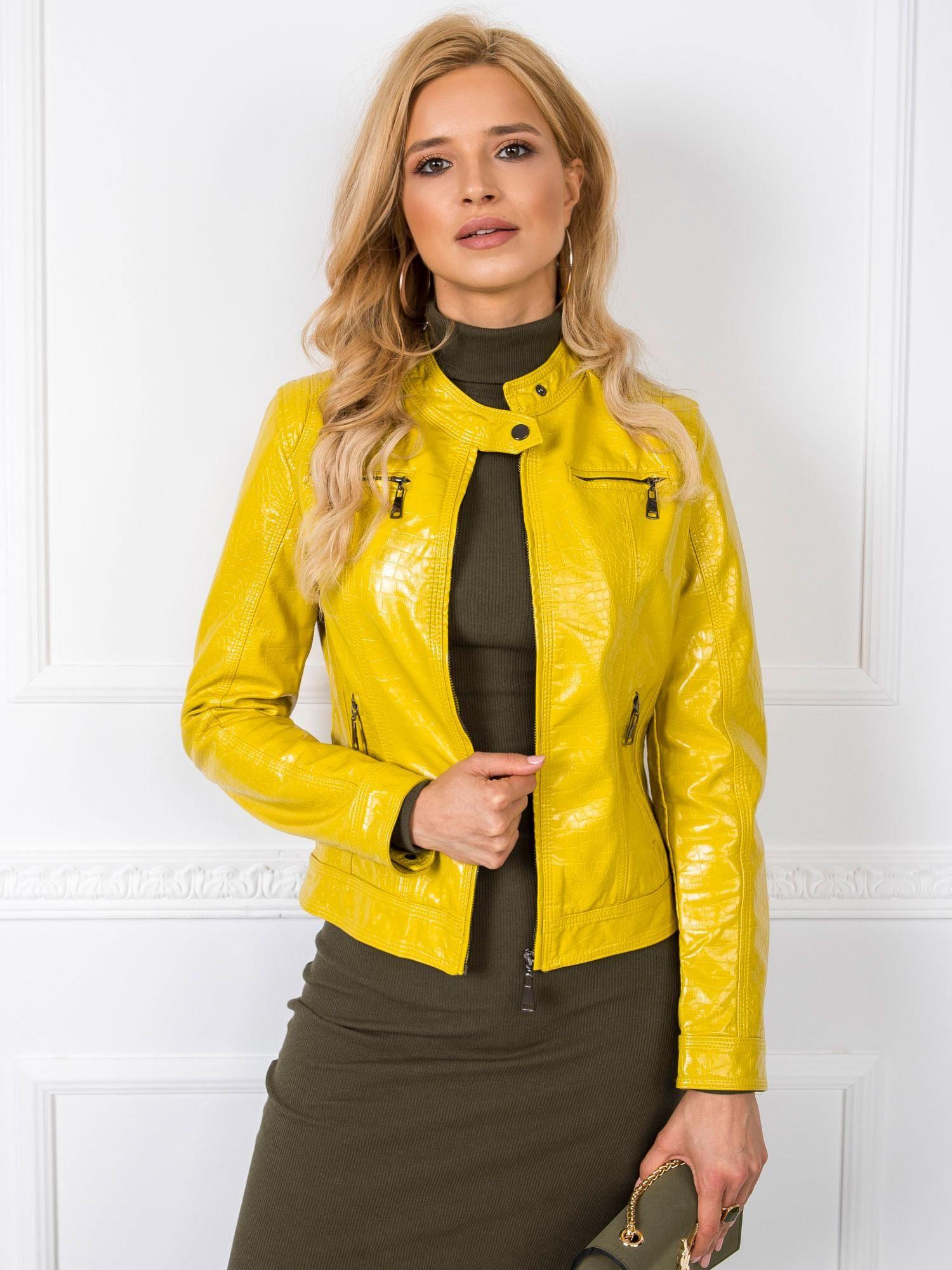 Dámska žltá eko kožená bunda - S
