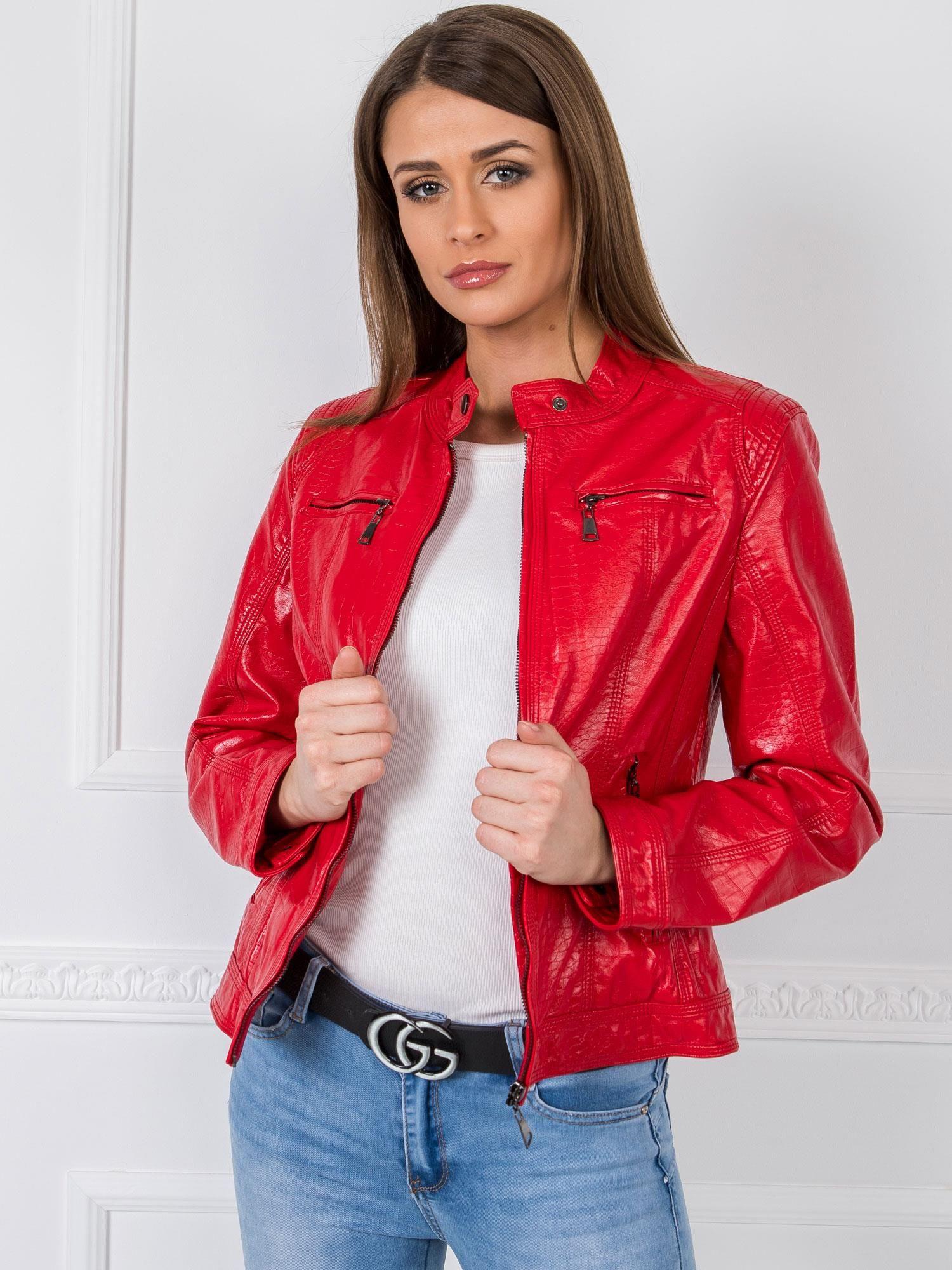 Dámska červená eko kožená bunda - XL